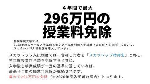 札幌学院大学が「スカラシップ特待生」を目指せるA日程の出願受付を1月7日から開始 ~4年間で最大296万円授業料免除